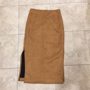 Suede midi skirt with side slit